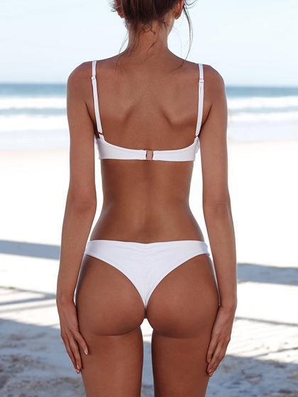 Simple Plain Pure Bikini Set
