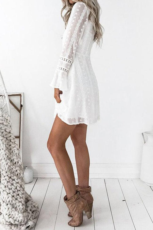 White Long Lace Sleeve Short Dress
