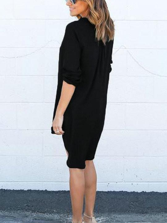 Long Sleeves Mini Plain Shirt Dress