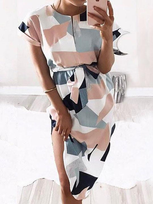 Cute Strappy Geometric Multi Color Dres