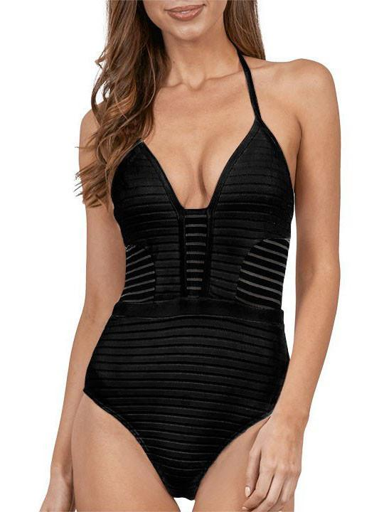Sexy Solid Color Striped One Piece Bikini