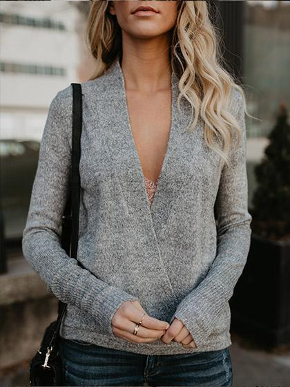 Deep V Neck Solid Color Loose Sweater