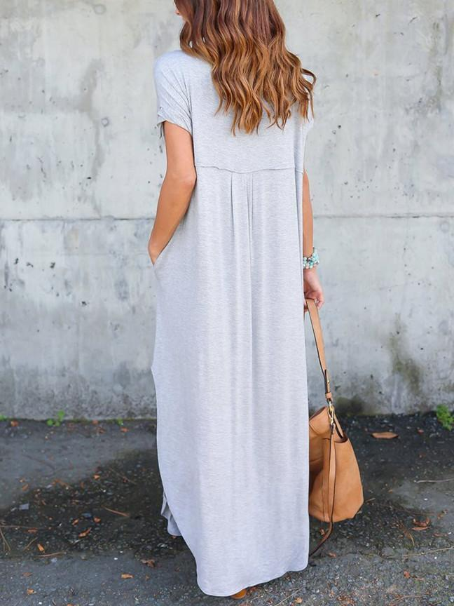 Casual Short Sleeve Split Loose Maxi Dress