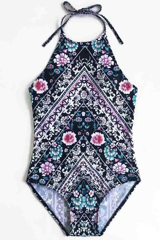 Diamond Lady Boho Floral Print One Piece Bikini