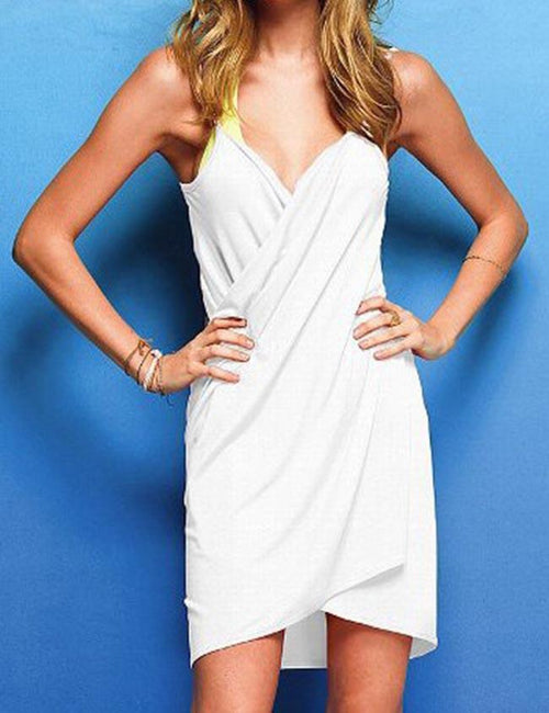 Solid Color Beach Coverup Dress Sexy Backless Bikini Wrap Dress