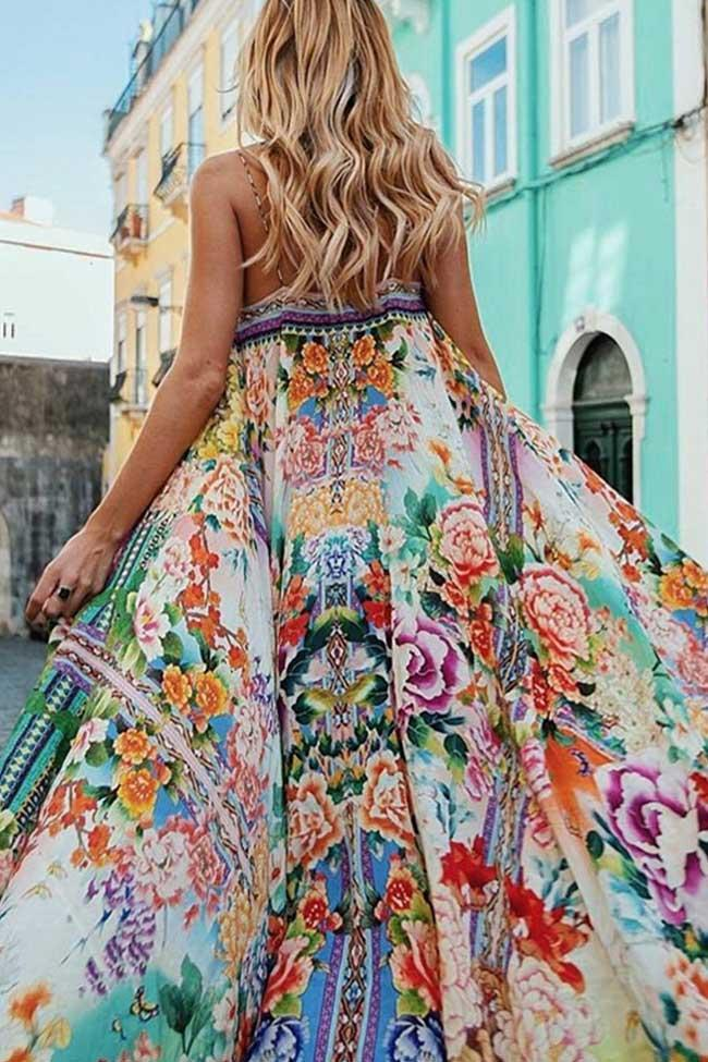 Boohoo Floral Printed Braced Maxi Dress