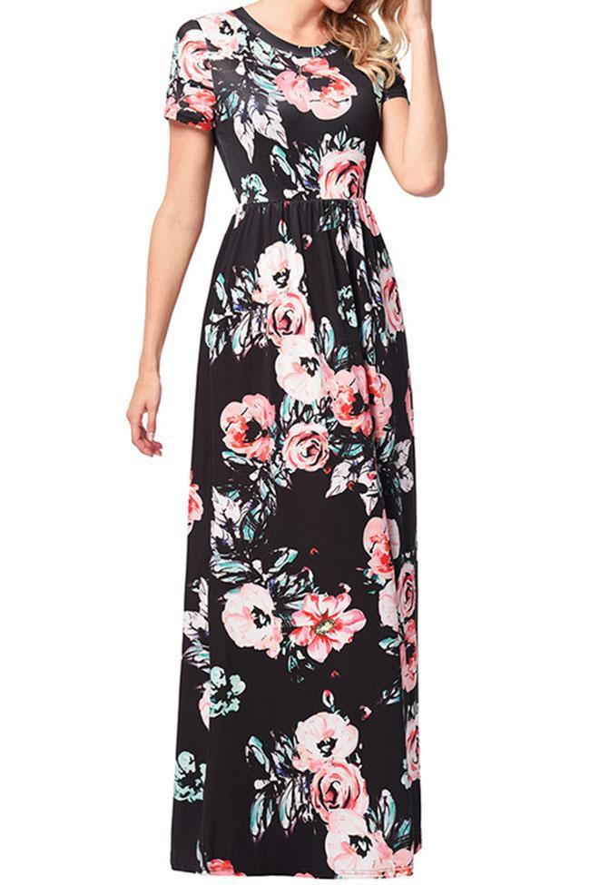 Casual Floral Printed Short Sleeve Maxi Dress