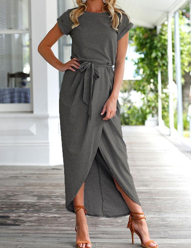 Casual Short Sleeve Front Split Maxi Dress