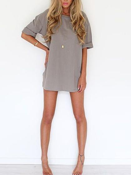 Simple Short Sleeve O-Neck Solid Color Chiffon Dress
