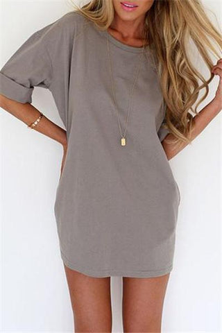 Cute Back Tie Solid Color Mini Braced Dress