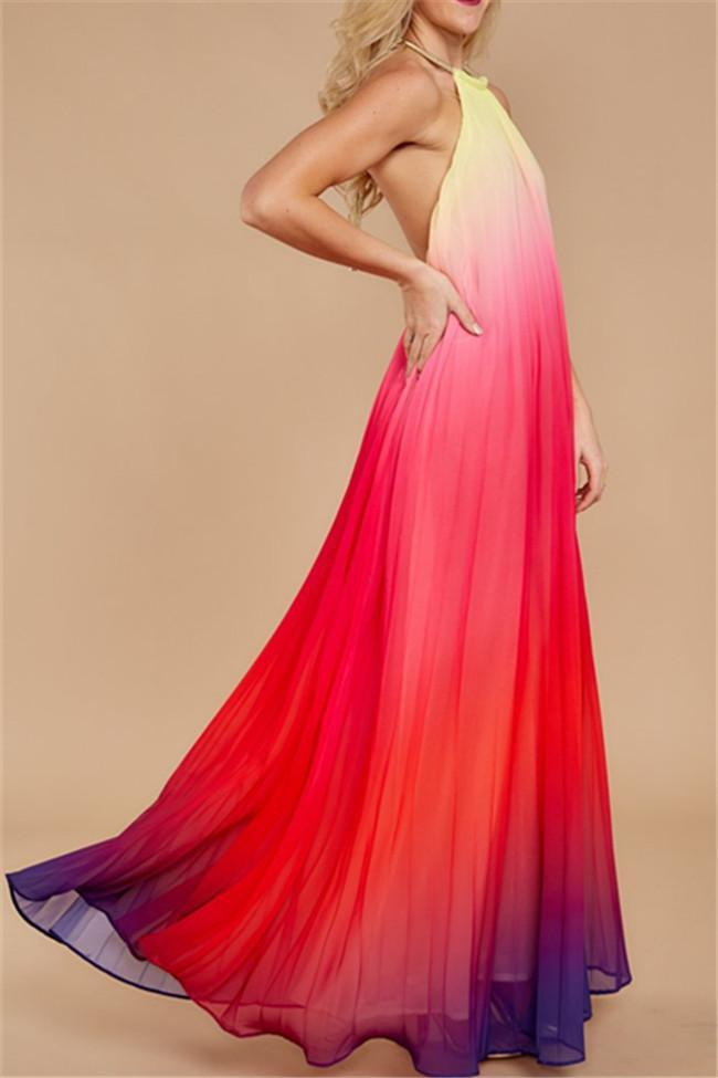 My Fairy Chiffon Pleated Rainbow Maxi Dress