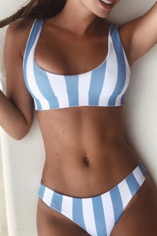 Women's Blue Bikini Halter Strappy Sexy Fashion Beach Push up Swimsuit