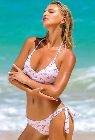 Stripy Seaside Cute Solid Color Bikini Set