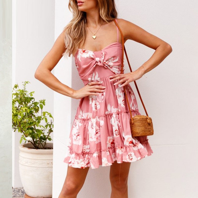 Ruffled Blush Pink Floral Print Dress