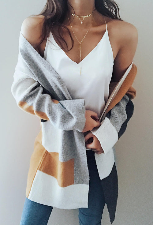 Multi color Long Sleeve Knit Cardigan