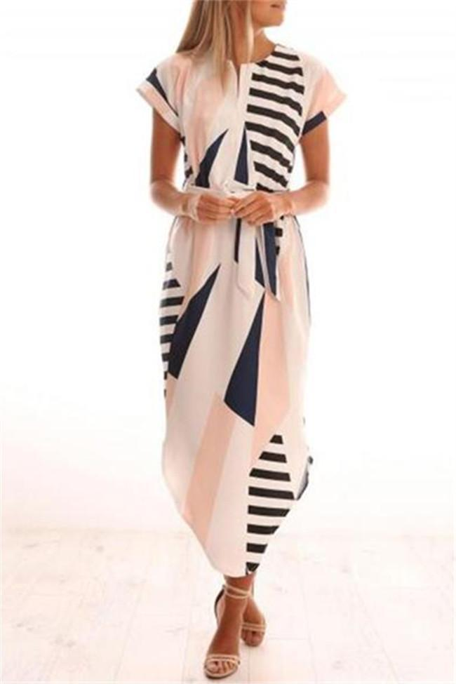 Short-sleeved Geometric Printed Irregular Hem Maxi Dress
