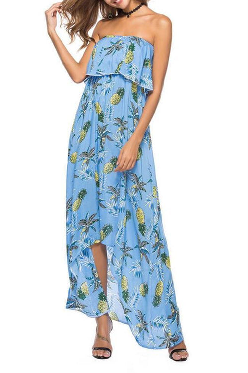 Fashion Floral Printed Off Shoulder Maxi Beach Dress