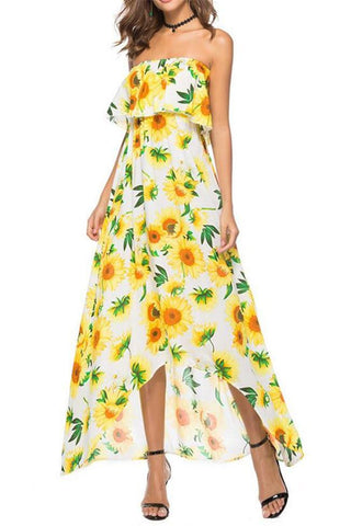 Boohoo Printed Tie Waist Maxi Dress