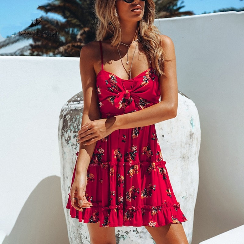 Ruffled Floral Print Dress