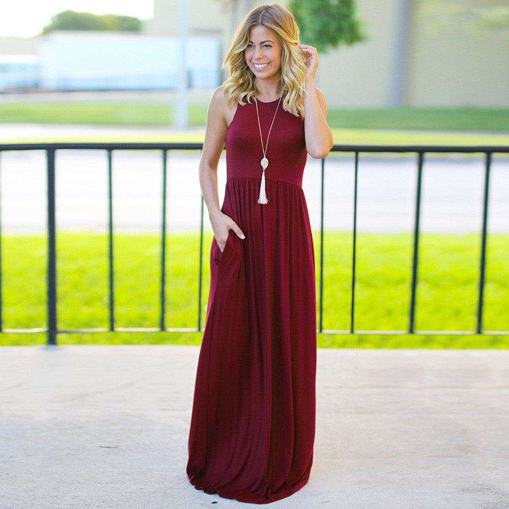 Simple Solid Color Vest Maxi Dress