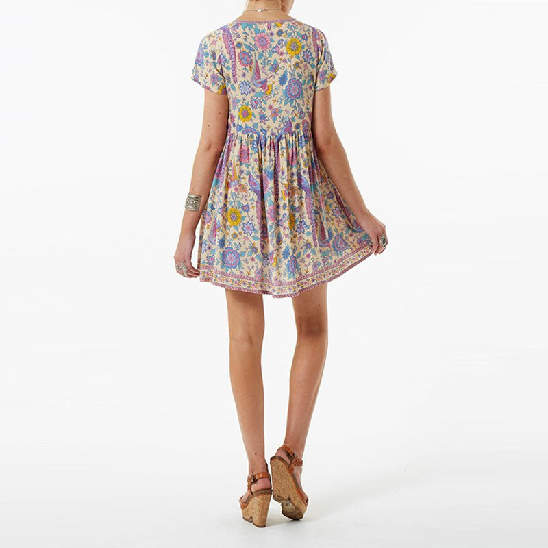 Floral Love Birds  Boho Dress