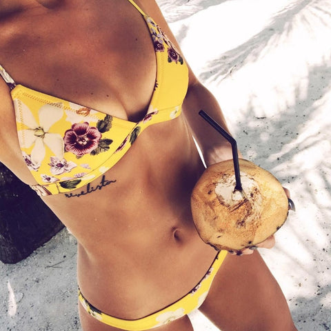 Cute Floral Print Two Piece Bikini Set