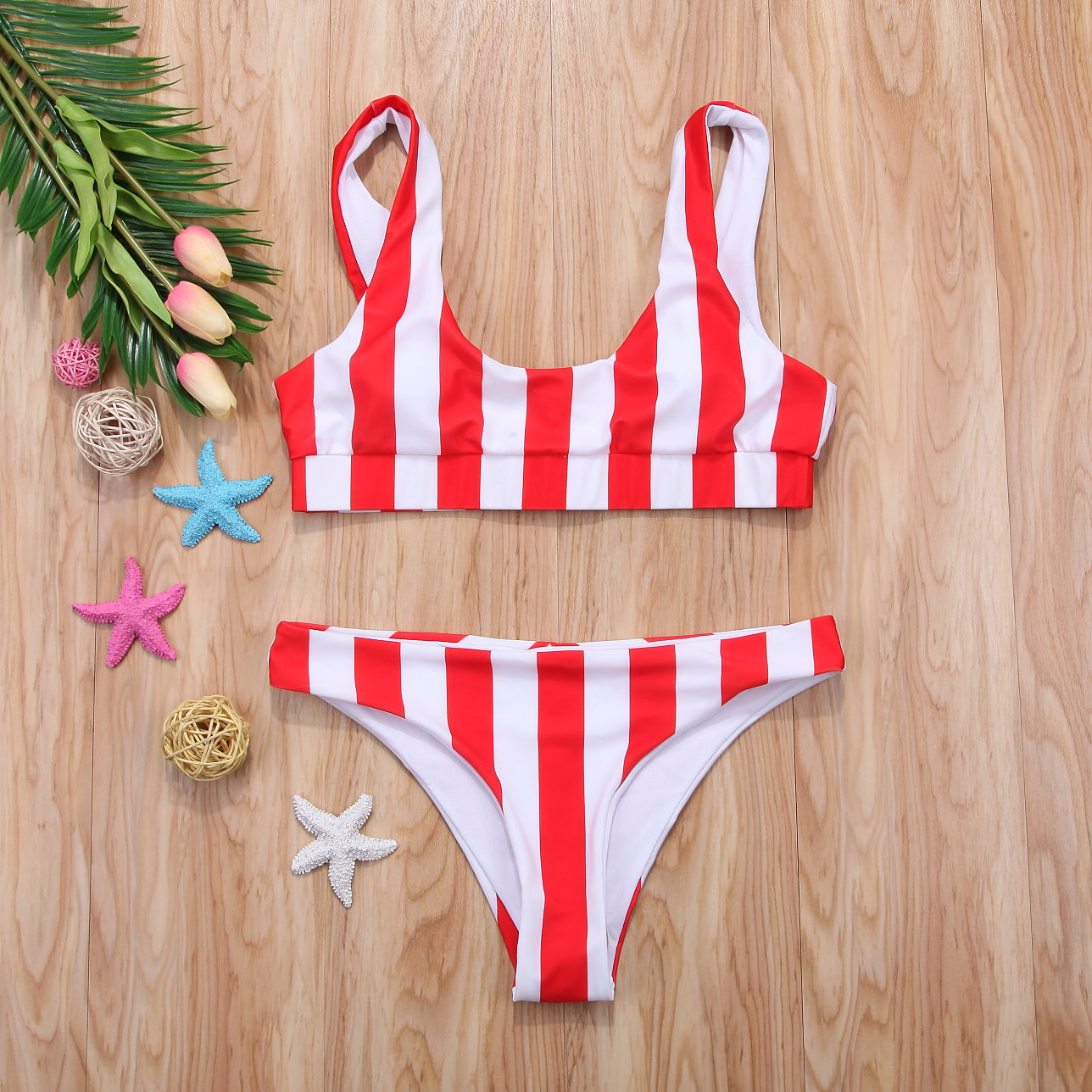 Straight To Me Striped Bikini Set