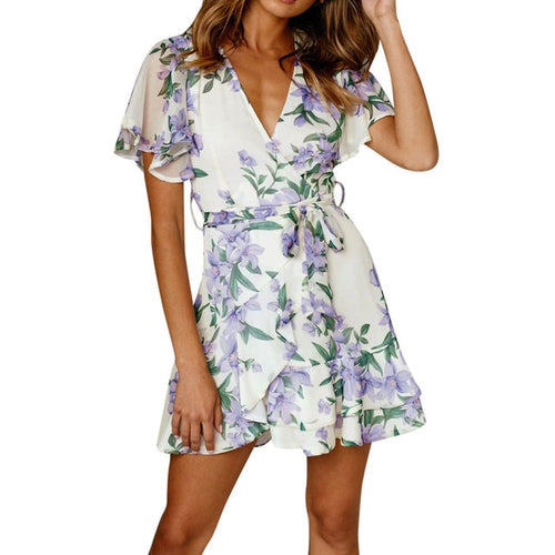 FOREVER DARLING FLORAL PRINT RUFFLED  DRESS