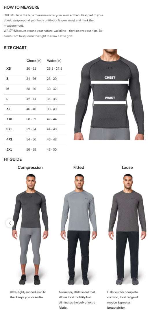 Under Armour Hoody Sizing Chart