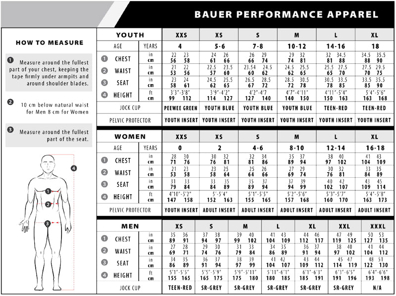 Bauer Apparel Sizing Chart