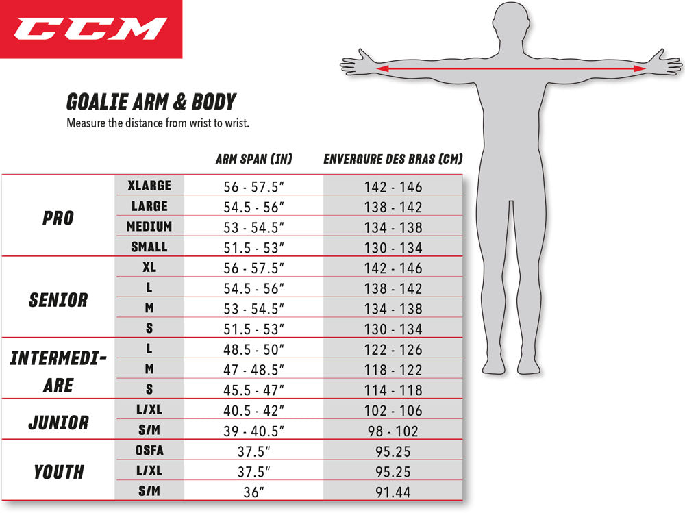 CCM Chest Protector Sizing Chart