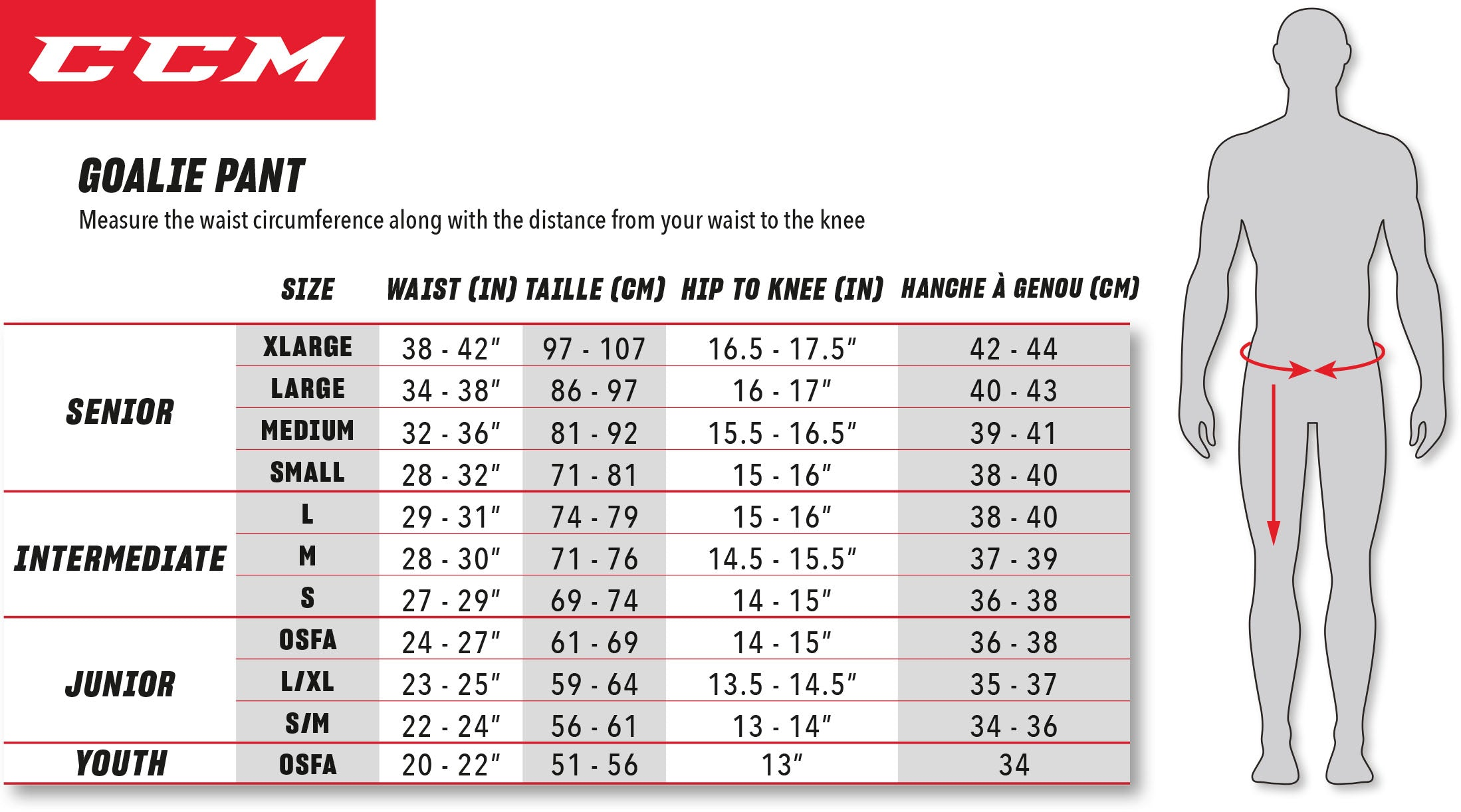 CCM Goalie Pants Sizing Chart