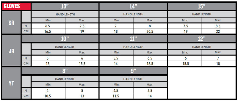 CCM Hockey Gloves Sizing Chart