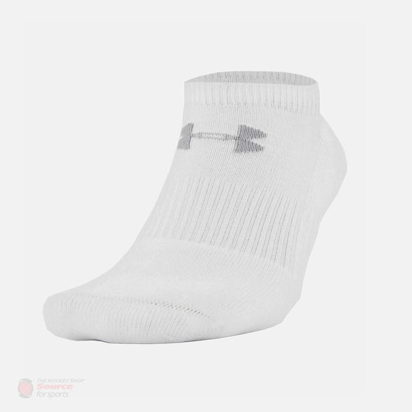 Under Armour Charged Cotton No Show White Performance Socks - 6 Pack