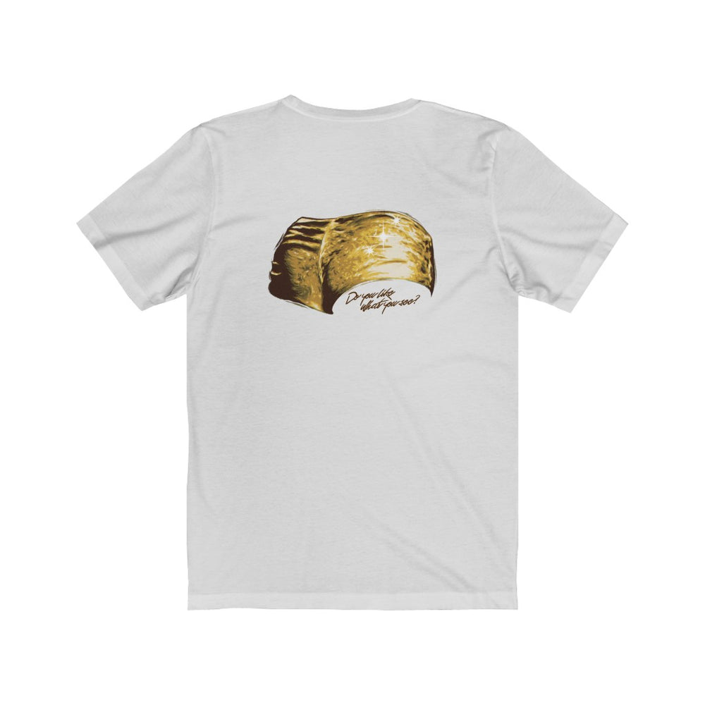 Golden Girl [Double-Sided Version with Hot Pants on back] - Unisex Jersey Short Sleeve Tee