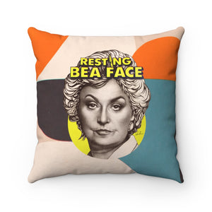 RESTING BEA FACE - Spun Polyester Square Pillow 16x16""
