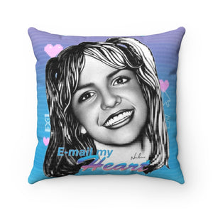 E-mail My Heart - Faux Suede Square Pillow 16x16""