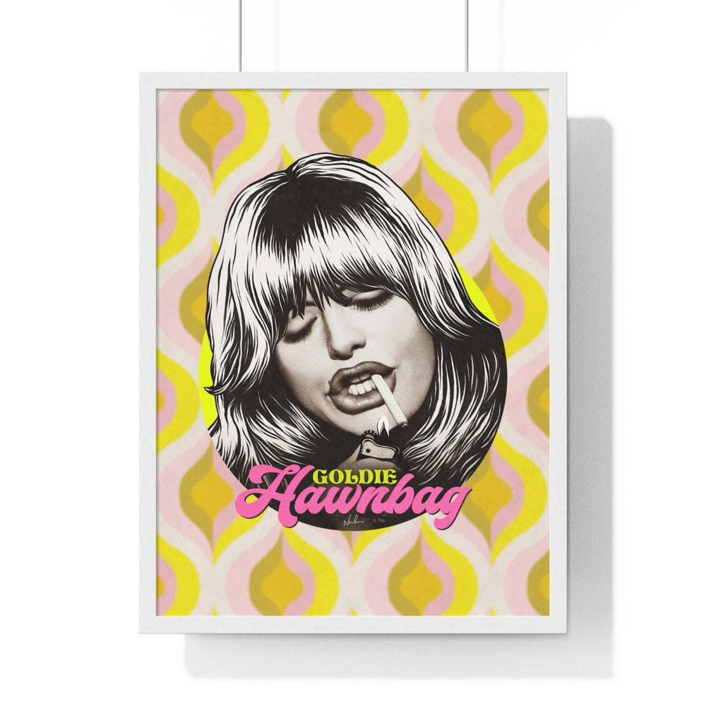 GOLDIE HAWNBAG [Coloured BG] - Premium Framed Vertical Poster