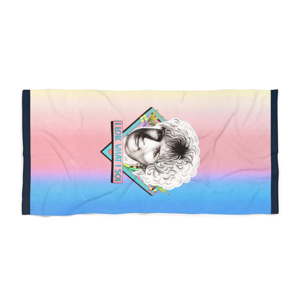 I LOIK WHAT I SOI - Beach Towel