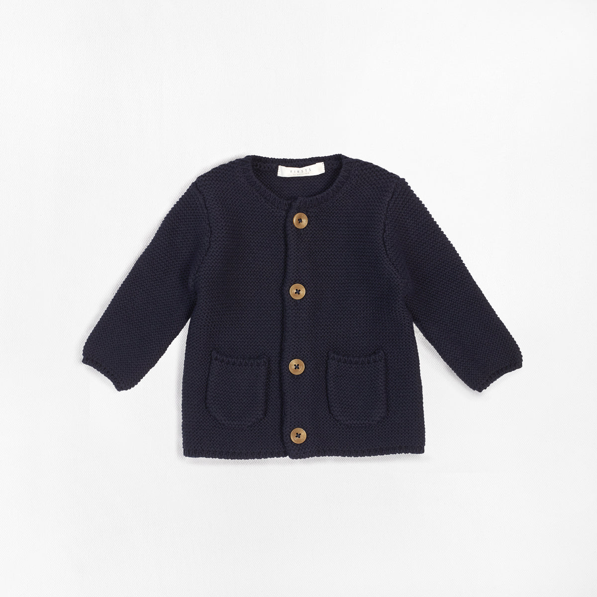 Cardigan FIRSTS beu marin en coton biologique