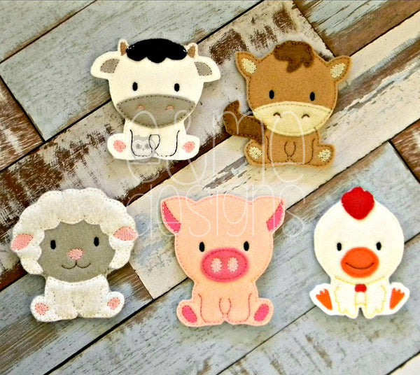 Farm Animal Felt Finger Puppets