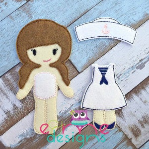 Sailor Girl Felt Non Paper Doll Outfit