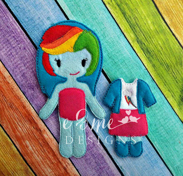 Rainbow Girl Felt Non Paper Doll Outfit