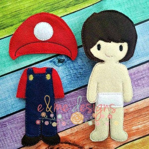 Super Mark Brother Felt Non Paper Doll Outfit