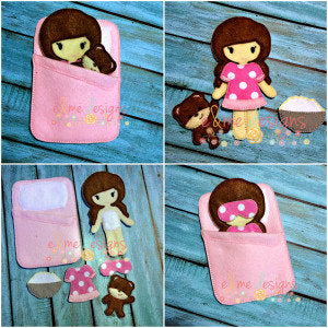 Slumber Party Play Set Felt Non Paper Doll Set