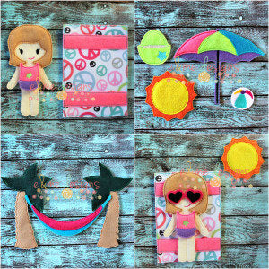 Beach Play Set Felt Non Paper Doll Set