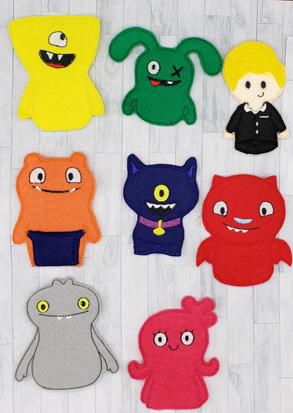 Monsters Felt Finger Puppets, Party Favors, Cake Topper, Pretend Play Toys, Travel Toys For Toddlers, Magnet, Quiet Play, DIY