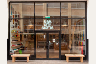 Shop front of Slam City Skates East London