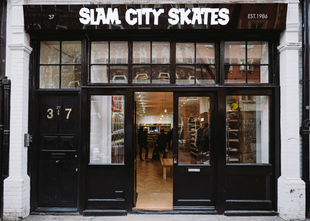 Shop front of Slam City Skates West London