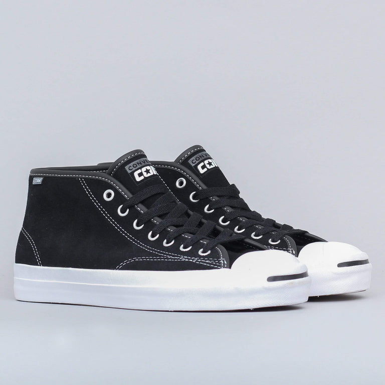 Converse Jack Purcell Pro Mid Suede Shoes Black White Black